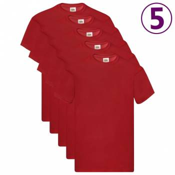Fruit of the Loom Original T-Shirts 5 Stk. Rot XXL Baumwolle